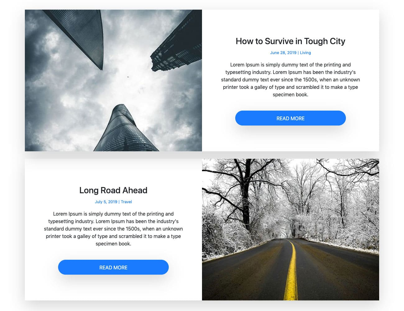 Bootstrap 2 Column Blog Design Example