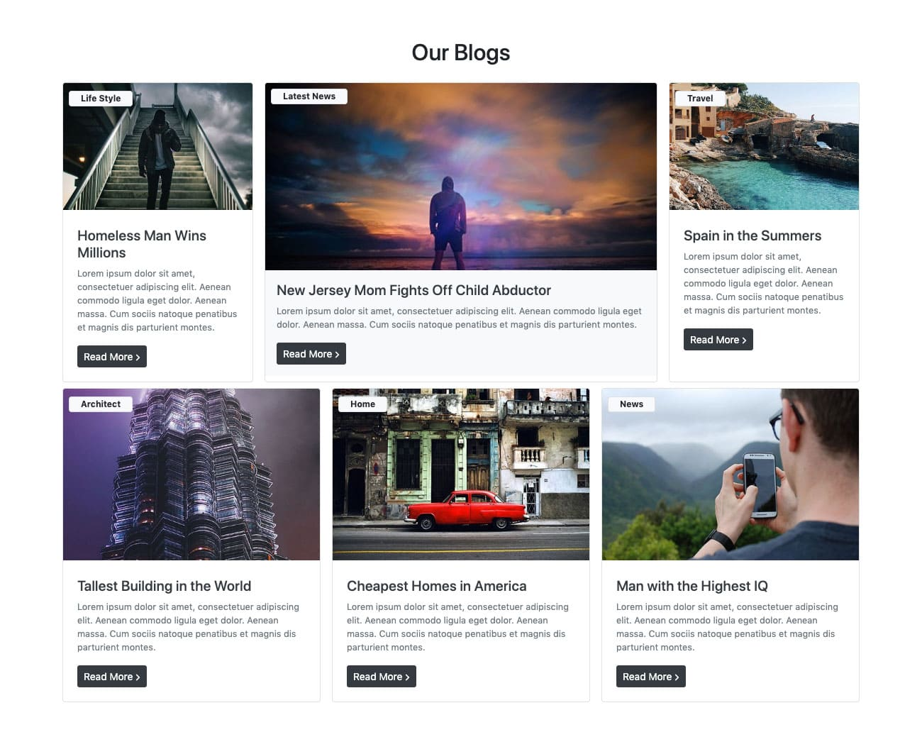 Bootstrap Masonry Blog Design Example