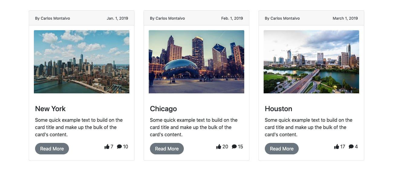 Bootstrap 3 Column Card Design