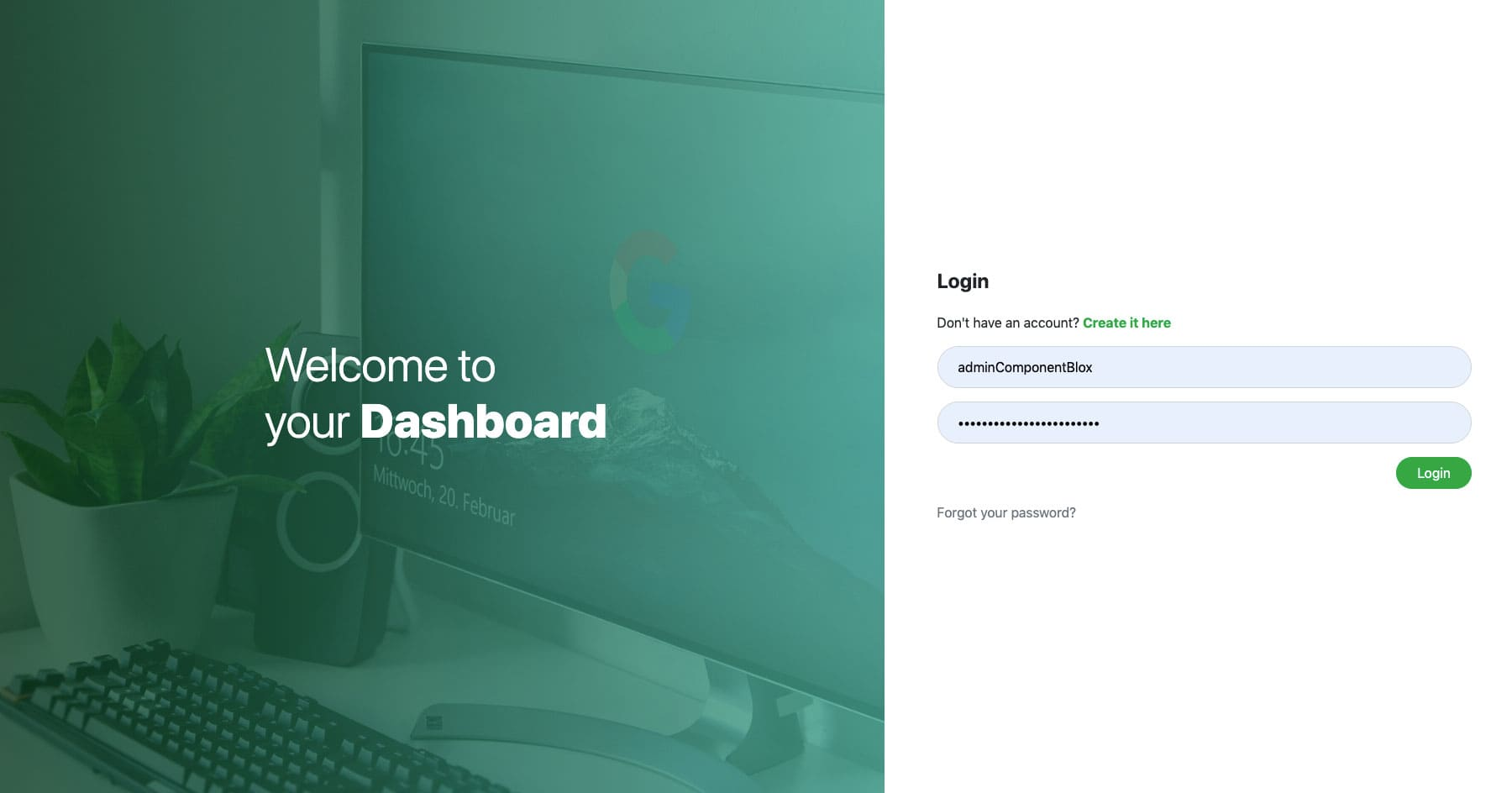 Bootstrap Full Screen Login Design
