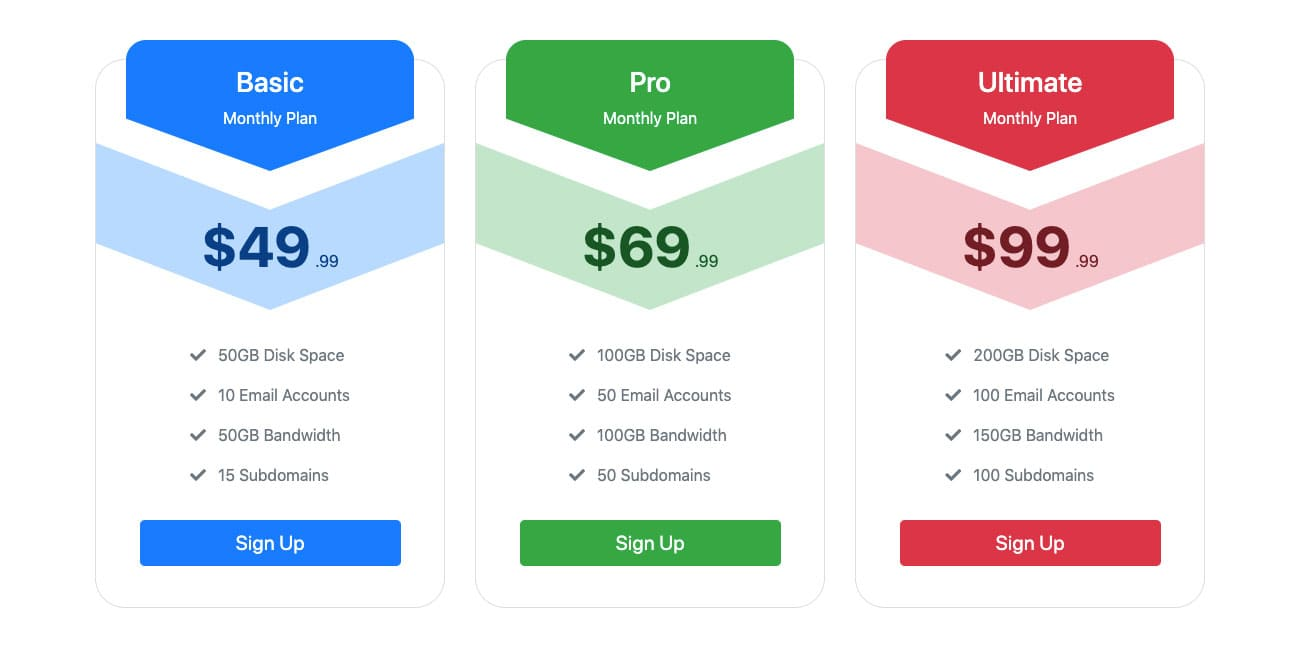 Bootstrap Pricing Table Hover Effect