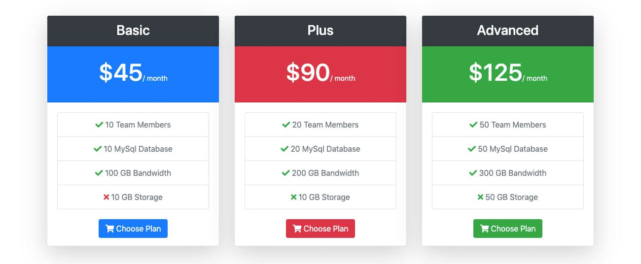 Bootstrap Pricing Table Design Examples