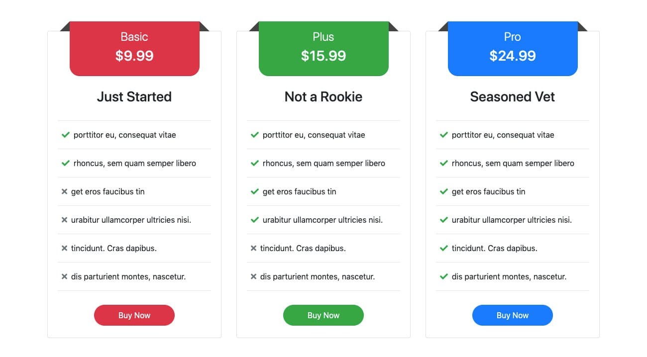 Bootstrap Pricing Tables with ribbons