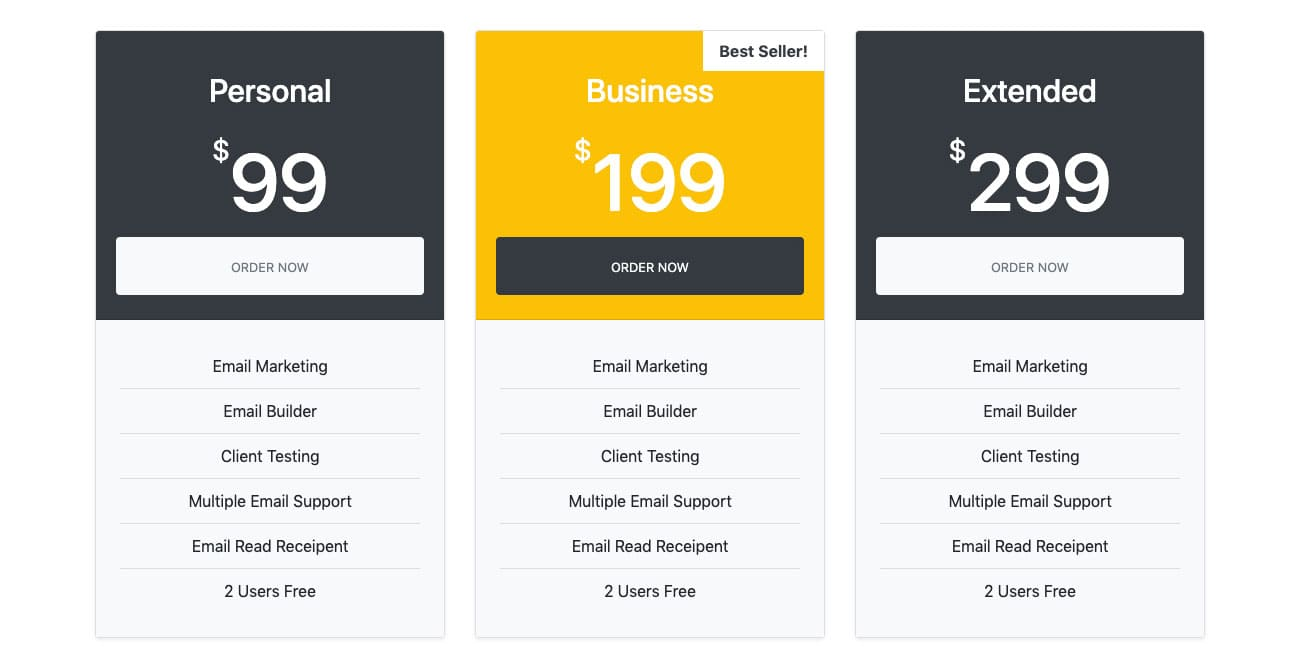 Bootstrap Pricing Table Example
